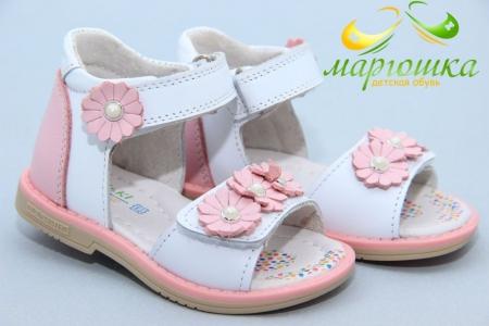 Босоножки BIKI 4445D для девочки бело-розовые