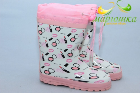 Резиновые сапоги Kimboo Y11-2 для девочки белые