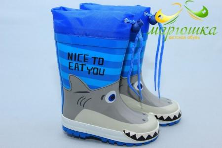 Резиновые сапоги Kimboo Y291-1K для мальчика синие