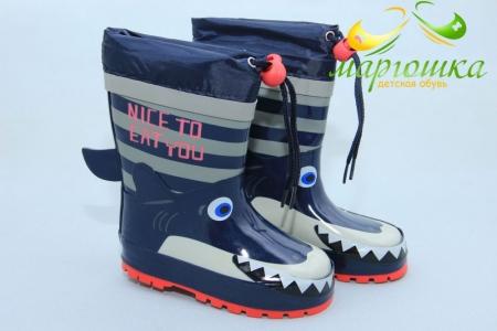 Резиновые сапоги Kimboo Y294-1H для мальчика синие