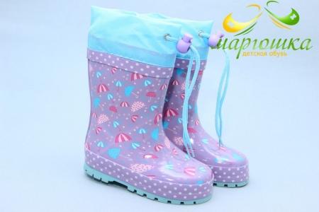 Резиновые сапоги Kimboo Y766-1F для девочки фиолетовые