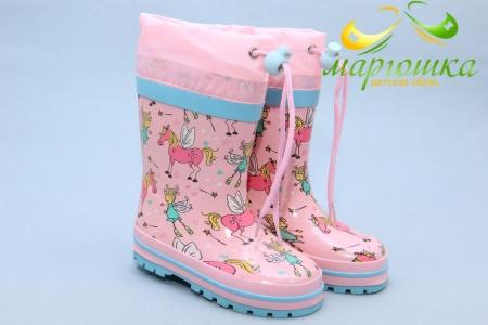 Резиновые сапоги Kimboo Y767-1F для девочки розовые