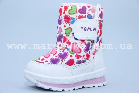 Дутики Tom.M 1528D для девочки белые (A)