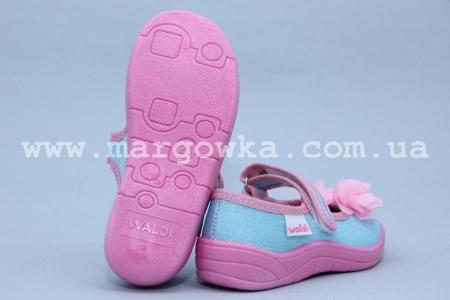 Тапочки Waldi 0012 для девочки голубые (A)