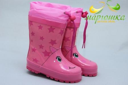 Резиновые сапоги Солнце Y51-1 для девочки розовые