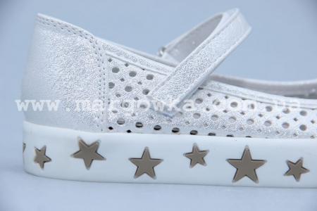 Туфли Солнце M21-26 для девочки серебристые (A)