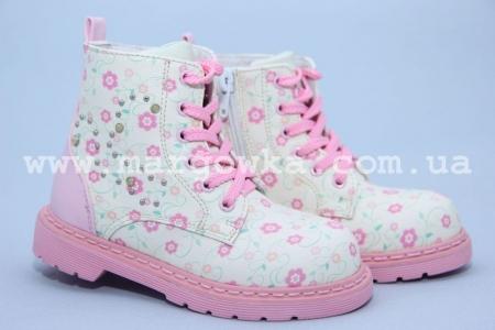 Детские демисезонные ботинки для девочки Little Deer (B&G) LD1816-18  молочного цвета