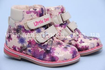 Ботинки Little Deer (B&G) LD1816-25-1 для девочки с ярким принтом, маломерят