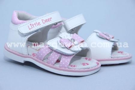 Босоножки Little Deer LD170-111 для девочки бело-розовые (A)